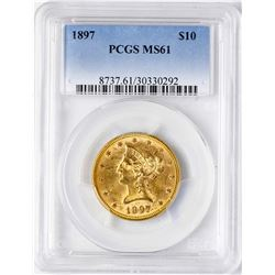 1897 $10 Liberty Head Eagle Gold Coin PCGS MS61