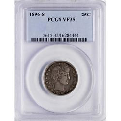 1896-S Barber Quarter Coin PCGS VF35