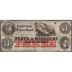 1860's $3 State of Missouri Defence Bond Obsolete Currency Note