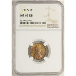 1931-S Lincoln Wheat Cent Coin NGC MS63 RB