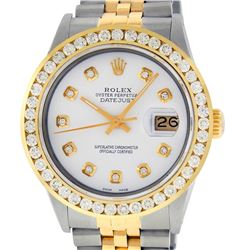 Rolex Men's Two Tone White Diamond 3 ctw Channel Set Datejust Wristwatch