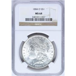 1884-O $1 Morgan Silver Dollar Coin NGC MS64 Amazing Toning
