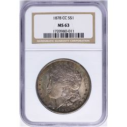 1878-CC $1 Morgan Silver Dollar Coin NGC MS63 Nice Toning