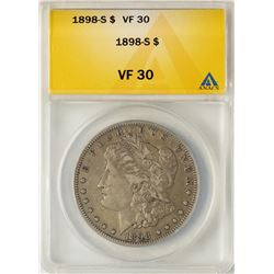 1898-S $1 Morgan Silver Dollar Coin ANACS VF30