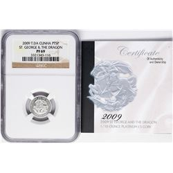 2009 T.DA Cunha 5 Pounds 1/10 oz St. George & Dragon Platinum Coin NGC PF69