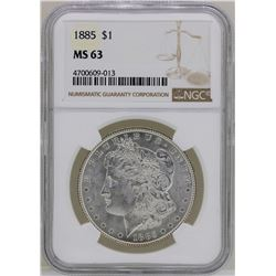 1885 $1 Morgan Silver Dollar Coin NGC MS63