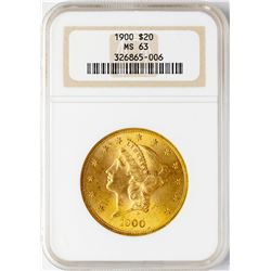 1900 $20 Liberty Head Double Eagle Gold Coin NGC MS63