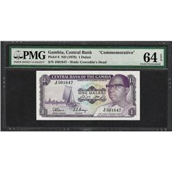 1978 Gambia Central Bank 1 Dalasi Commemorative Note PMG Choice Uncirculated 64E