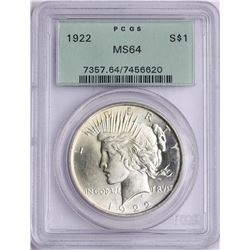 1922 $1 Peace Silver Dollar Coin PCGS MS64