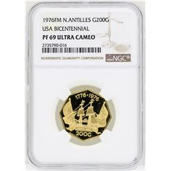 1976FM N.Antilles 200 Gulden USA Bicentennial Gold Coin NGC PF69 Ultra Cameo