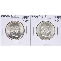 Lot of 1948-D & 1949-D Franklin Half Dollar Coins