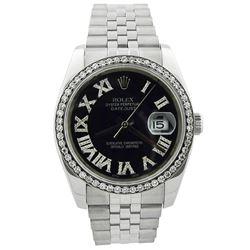 Rolex Datejust Stainless Steel 36mm Black Roman Diamond Dial Watch