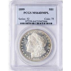 1899 $1 Morgan Silver Dollar Coin PCGS MS64DMPL