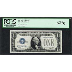 1928B $1 Funnyback Silver Certificate Note Fr.1602 PCGS Gem New 66PPQ
