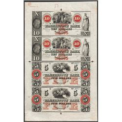 Uncut Sheet 1800's $10/$10/$5/$5 Hagerstown Bank Obsolete Notes