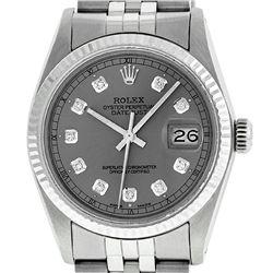 Rolex Men's Stainless Slate Grey Diamond 36MM Datejust Wristwatch