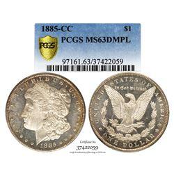 1885-CC $1 Morgan Silver Dollar Coin PCGS MS63DMPL