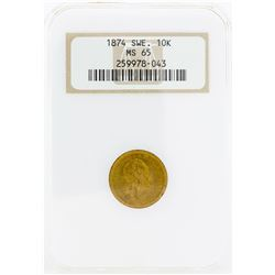 1874 Sweden 10 Kronor Gold Coin NGC MS65