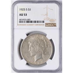 1925-S $1 Peace Silver Dollar Coin NGC AU53
