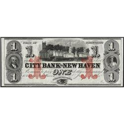1865 $1 City Bank of New Haven Obsolete Note