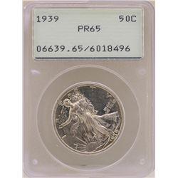 1939 Proof Walking Liberty Half Dollar Coin PCGS PR65 Old Green Rattler