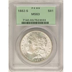 1882-S $1 Morgan Silver Dollar Coin PCGS MS63 Old Green Holder
