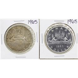 Lot of (2) 1965 $1 Canada Silver Dollar Coins