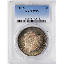 1885-S $1 Morgan Silver Dollar Coin PCGS MS64 Nice Toning