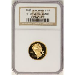 1988-W $5 Proof Olympics Commemorative Gold Coin NGC PF70 Ultra Cameo