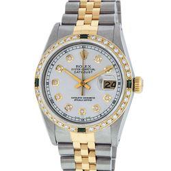 Rolex Mens Two Tone 14K Silver Diamond & Emerald Datejust Wriswatch