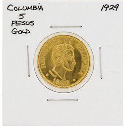 1929 Columbia 5 Pesos Gold Coin