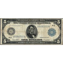 1914 $5 Federal Reserve Note Ohio