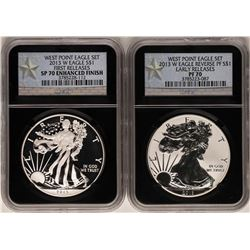 2013-W $1 Proof American Eagle Coins NGC PF69 & SP69 Enhanced Finish West Point