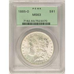 1885-O $1 Morgan Silver Dollar Coin PCGS MS63 Old Green Holder