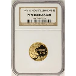 1991-W $5 Proof Mount Rushmore Commemorative Gold Coin NGC PF70 Ultra Cameo