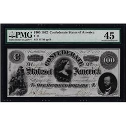 1862 $100 Confederate States of America Note T-49 PMG Choice Extremely Fine 45