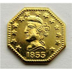 1855 1/2 FRACTIONAL CALIFORNIA GOLD OCTAGON