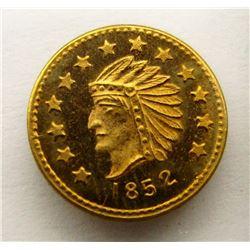 1852 1/2 FRACTIONAL CALIFORNIA GOLD INDIAN