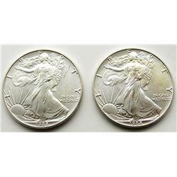1988 & 1988 .999 SILVER ONE OUNCE EAGLE