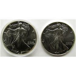 1993 & 1988 AMERICAN SILVER EAGLES