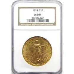1924 $20 NGC MS64  ST. GAUDEN