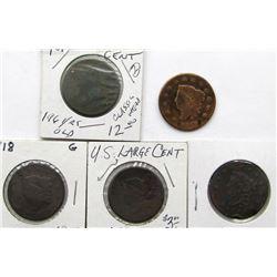 5- LARGE CENTS- 1810, 1816, 1818, 1818, 1819