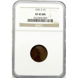 1931-S LINCOLN CENT XF 45 BN - NGC