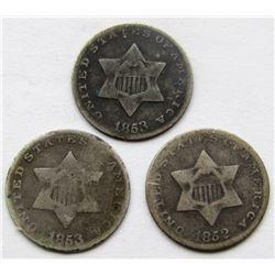 1853, 1852, 1853 THREE CENT SILVERS