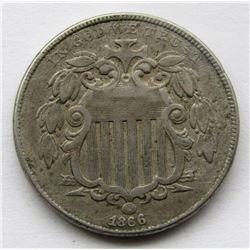 1866 SHIELD NICKEL FINE