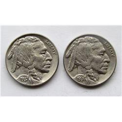 1936 & 1937 BUFFALO NICKELS AU/UNC