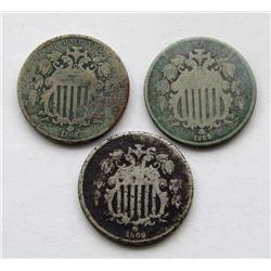 3-G/VG SHIELD NICKELS; 1869, 1868, 1866