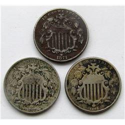 3-G/VG SHIELD NICKELS; 1866, 1867, 1874