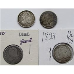 4-BUST DIMES: 1829, 1830, 1831 HOLED,