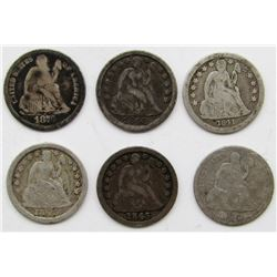 6-SEATED DIMES: 1841, 1843, 1845, 1848, 1875, 1876